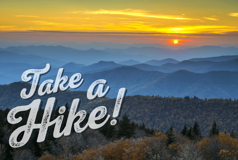 an image of the blue ridge mountains as part of the enterprise software campaign, take a hike.