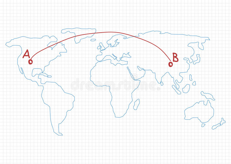an image of the world map with two points connected by a line. Points are labeled a and b to indicate order fulfillment is getting products from origin to destination.