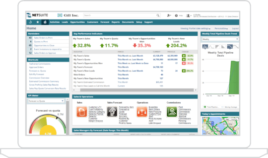 an image of the netsuite ERP financial management dashboard