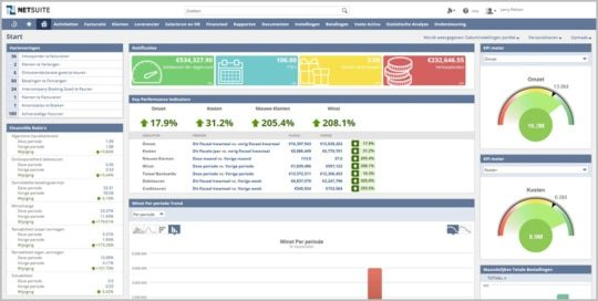 an image of the NetSuite ERP production management dashboard