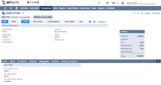 An image of the NetSuite ERP sales order management dashboard