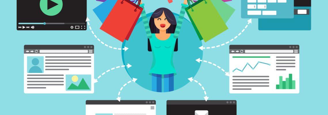 a graphic image of a happy customer utilizing a self--service customer portal