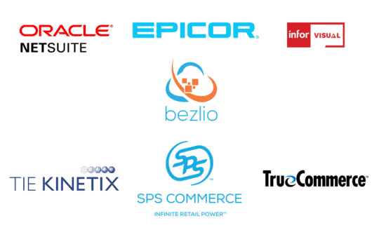An image that includes the logos of all ERP and software systems that Encompass Electronic Document EnTrust EDI integrates with.