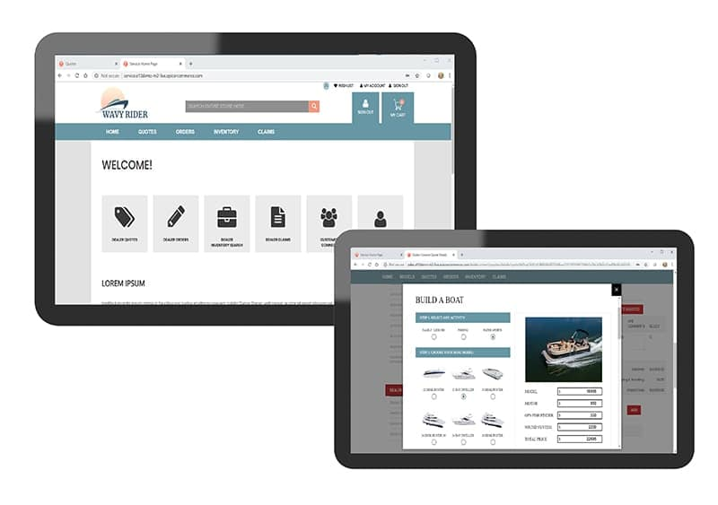 en image of the epicor dealer network portal being used on mobile devices