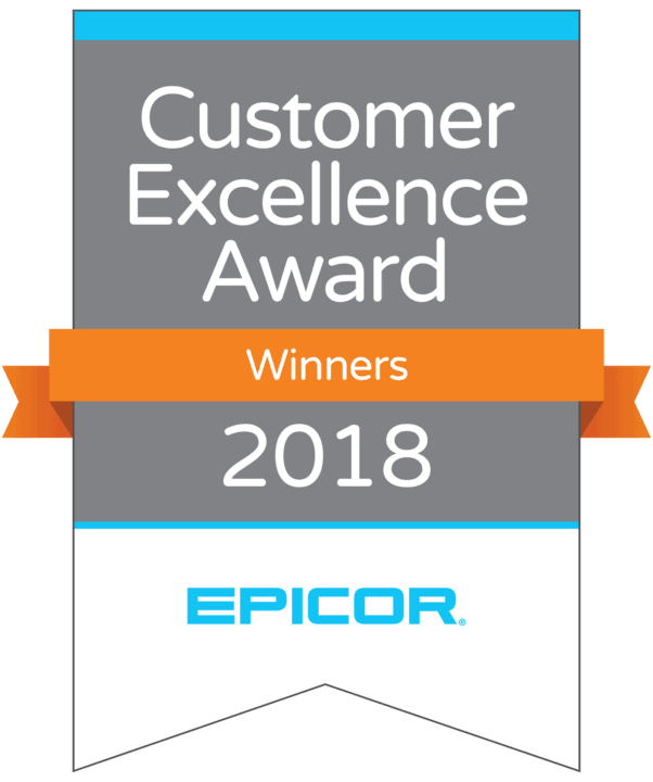 an image of the 2018 Epicor Customer Excellence Award banner