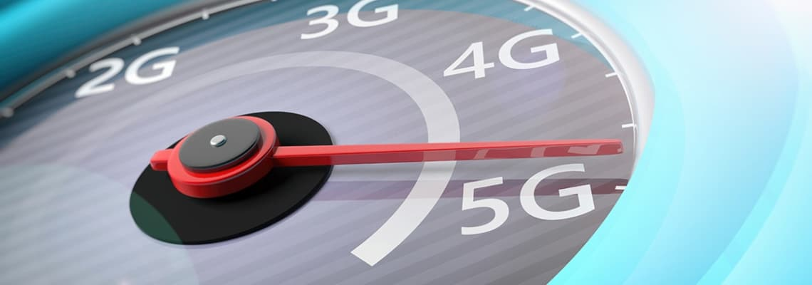 an image concept of 5g wireless network at the apex of a spedometer