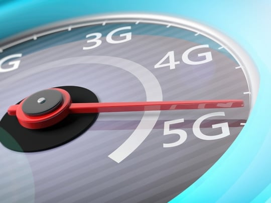 an image concept of 5g wireless network at the apex of a spedomete. 4g versus 5g wireless technologyr