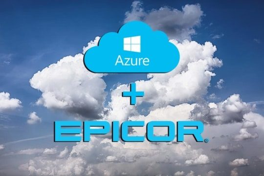 an image of the epicor erp cloud and Microsoft azure logos