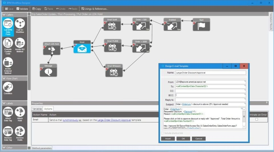Business Process Management—Build new controls and validate easier with BPM as part of the Epicor Business Architecture