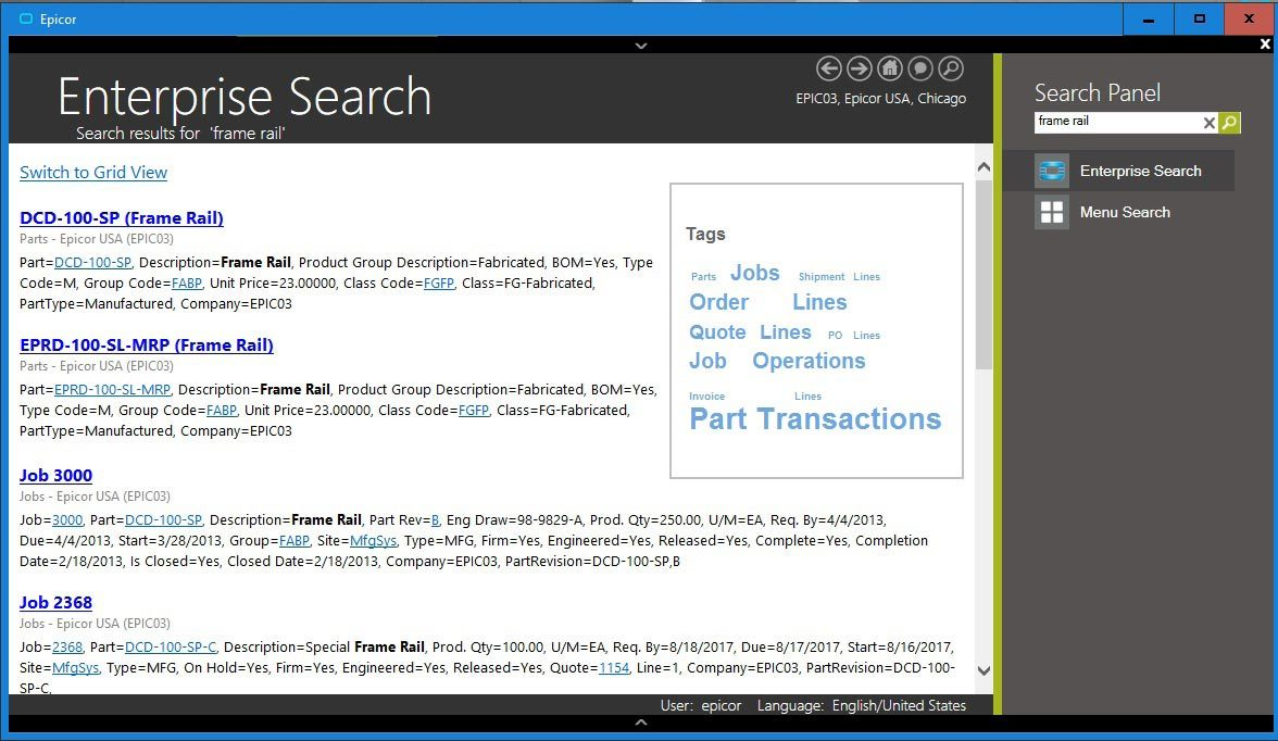 Enterprise Search—Epicor Enterprise Search delivers search options for relevant business information in a format similar to Google as part of the Epicor Business Architecture