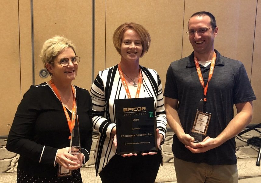 an image of the encompass team members who won awards at epicor ignite 2019