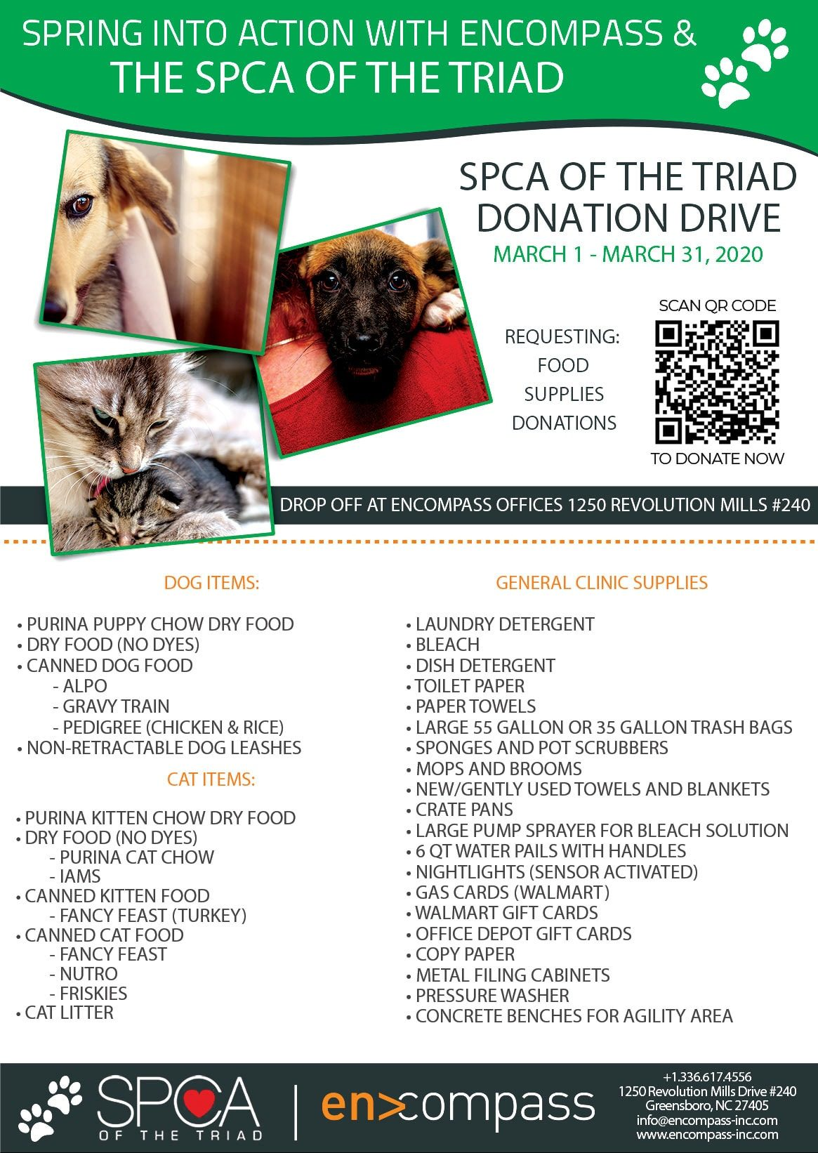 ENCOMPASS Q1 FOOD DRIVE SPCA FLYER