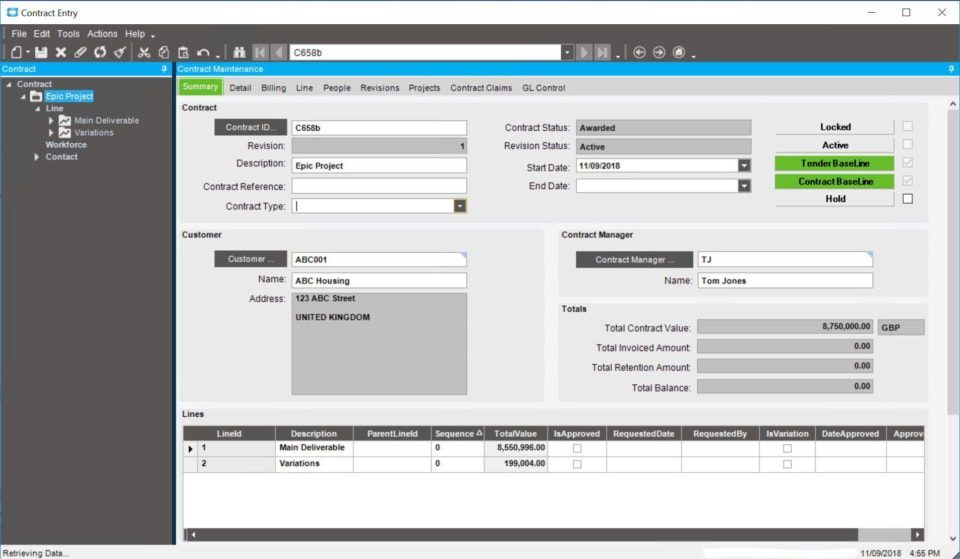 Epicor Advanced Projects module contract summary dashboard