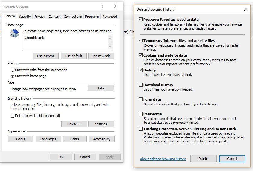 clear browsing history on microsoft edge or internet explorer browsers
