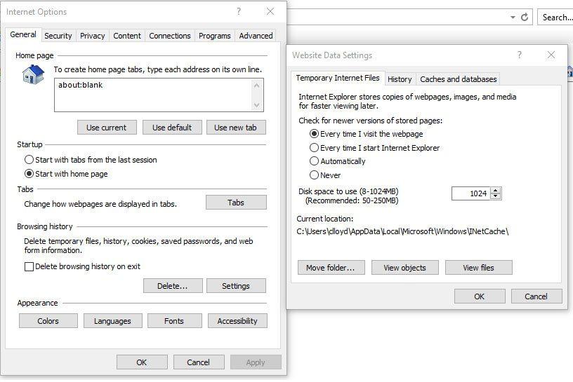 website data settings for microsoft edge or internet explorer browsers